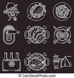 branca, vetorial, piquenique, linha, ícones