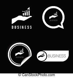 branca, vetorial, pretas, negócio, ícone