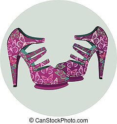branca, vetorial, sapatos, isolado
