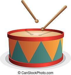 branca, vetorial, tambor, isolado