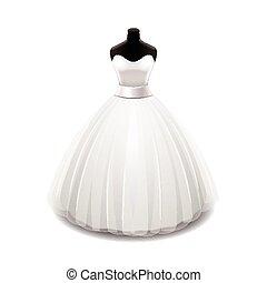 branca, vetorial, vestido, isolado, casório