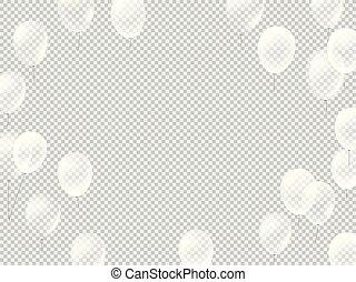 branca, voando, balões, transparente, fundo