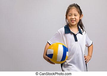 branca, voleibol, isolado, segurando, criança