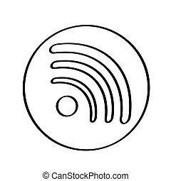 branca, wifi, isolado, fundo, ícone