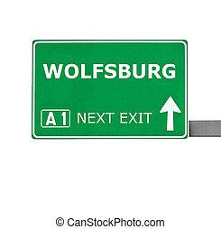 branca, wolfsburg, isolado, sinal estrada