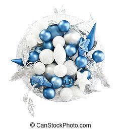 brancas,  blues, tigela, Natal