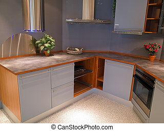 branché, bois, moderne, conception, cuisine