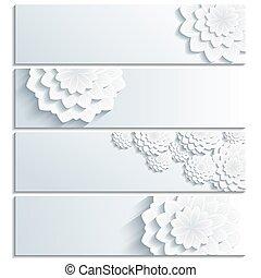 branché, chrysanthème, ensemble, bannière, 3d