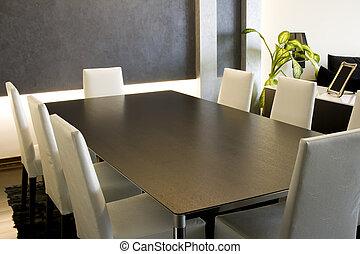 branché, dîner, salle moderne