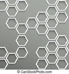 branché, géométrique, 3d, fond, hexagones