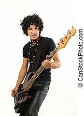 branché, hispanique, adolescent, jeu guitare basse
