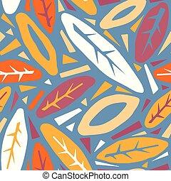 branché, impression, modèle, collage, feuilles, main, griffonnage, dehors, coupure, tailler, automne, dessiné, texture., seamless, style.