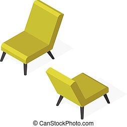 branché, isométrique, chaise, illustration