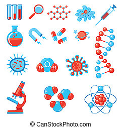 branché, science, icônes