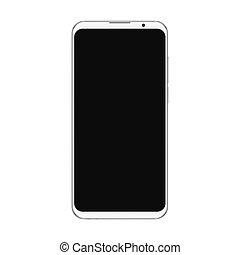 branché, smartphone, mockup, essai, écran, isolé, n'importe quel, réaliste, presentation., noir, arrière-plan., vide, interface, blanc, ou, utilisateur