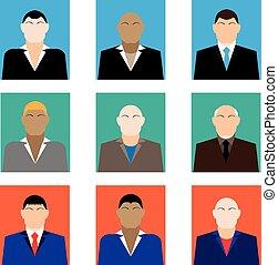 branché, style, ensemble, business, mâle, coloré, icônes, plat, faces