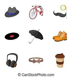 branché, style, ensemble, hipsters, icônes, plat