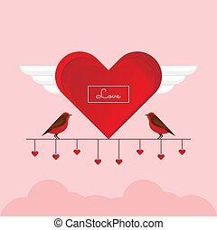 branch., かわいい, 鳥, 恋人, 恋人, 赤