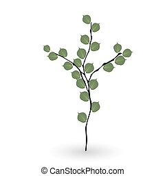 branch., blätter, grün, naturalistisch, bunte