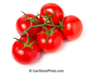 branch five tomatoes isolated on white background