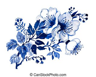 branch of a blooming tree in blue tones.