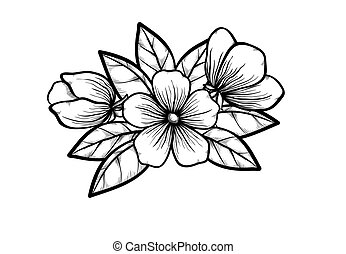 branch of a blossoming tree in graphic black white style, drawing by hand. Symbol of spring