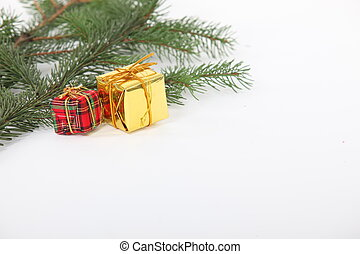 Branch of a Christmas tree with decorations