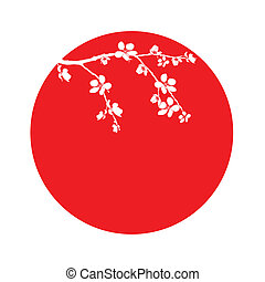 Branch of beautiful cherry blossom in circle - Branch of...