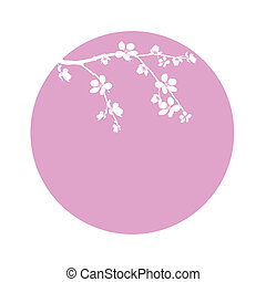 Branch of beautiful cherry blossom in circle