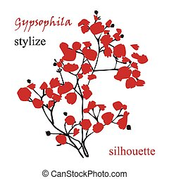 Branch of beautiful hand-drawn silhouette gypsophila in ...