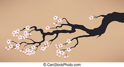 Branch of blooming cherry