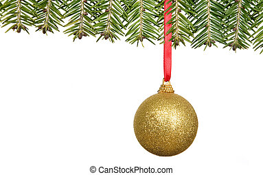 Branch of fir with christmas decorations, congratulation ...