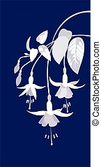 branch of fuchsia flowers and leaves on a blue background