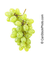 Branch of green grape isolated on white background