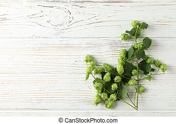 Branch of hop on white wooden background, space for text