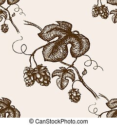 Branch of hops hand drawn seamless pattern vector