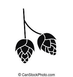 Branch of hops icon, simple style