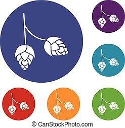 Branch of hops icons set