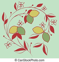 Branch of lemon tree with flowers and leaves. Vector Illustration