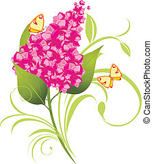Branch of lilac and butterflies