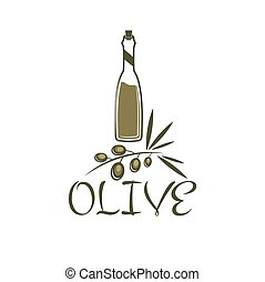 branch of olives and a bottle of olive oil