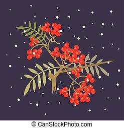 Branch of red rowanberry. Vector flat cartoon illustration