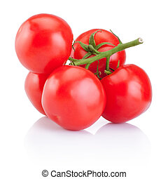 Branch of red tomatoes isolated on a white background