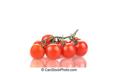 Branch of ripe tomatoes.