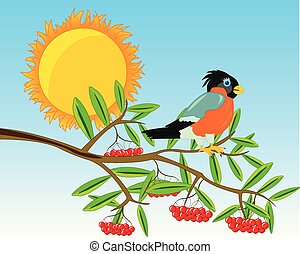 Branch of rowanberry with ripe berry.Vector illustration -...