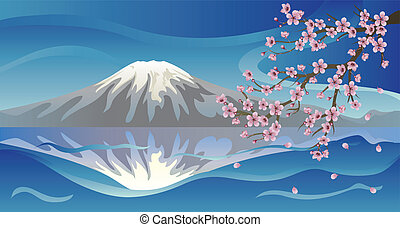 Branch of Sakura and Volcano - Bright background with...