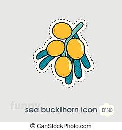 Branch of sea-buckthorn berries icon. Berry fruit