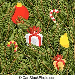 Branch of tree and gifts seamless pattern. Christmas green background. Gift box with bow. Christmas balls. Christmas Peppermint candy.
