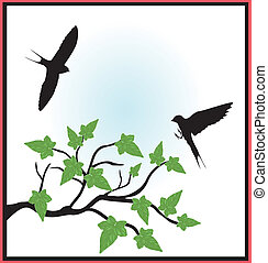 branch of tree with birds