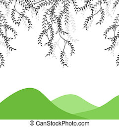 Branch of willow and mountains